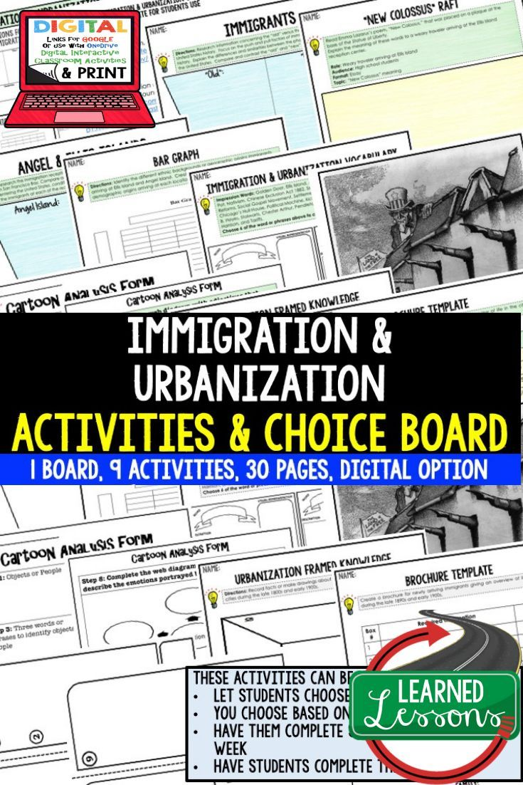 Photo of US History Immigration & Urbanization Activities, Choice Board, Print & Digital