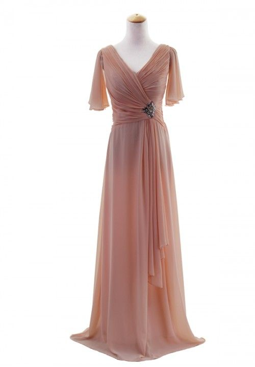 Plus Size Butterfly Sleeve V-Neck Chiffon Bridesmaid Evening Gown  Watermelon Pink (FREE SHIPPING) e11577ea7451