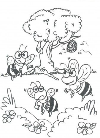 boze bijtjes bijen kleurplaten