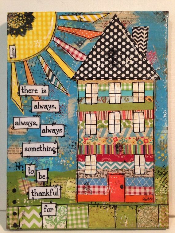 9x12 Mixed media house canvas there is always,,,,,, #artjournalmixedmediainspiration