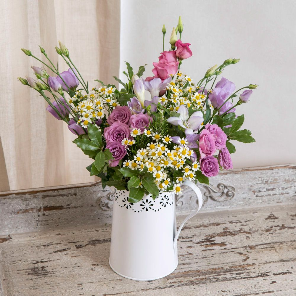 Country Jug flowers spring home • 3 x Mixed Lisianthus