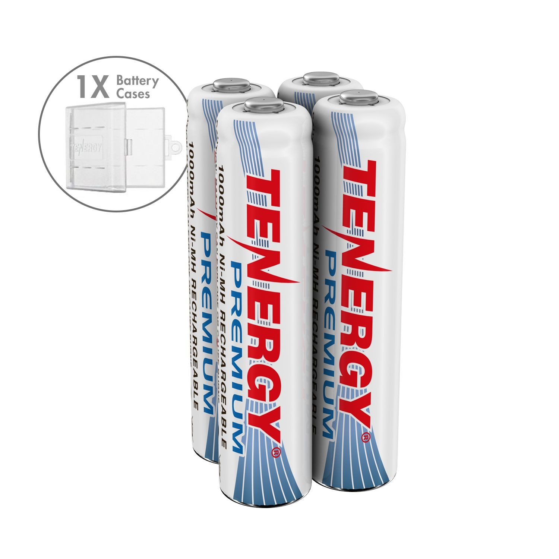 Combo 4 Pcs Tenergy Premium Aaa 1000mah Nimh Rechargeable Batteries 1 Aaa Size Holder Nimh Rechargeable Batteries Recharge