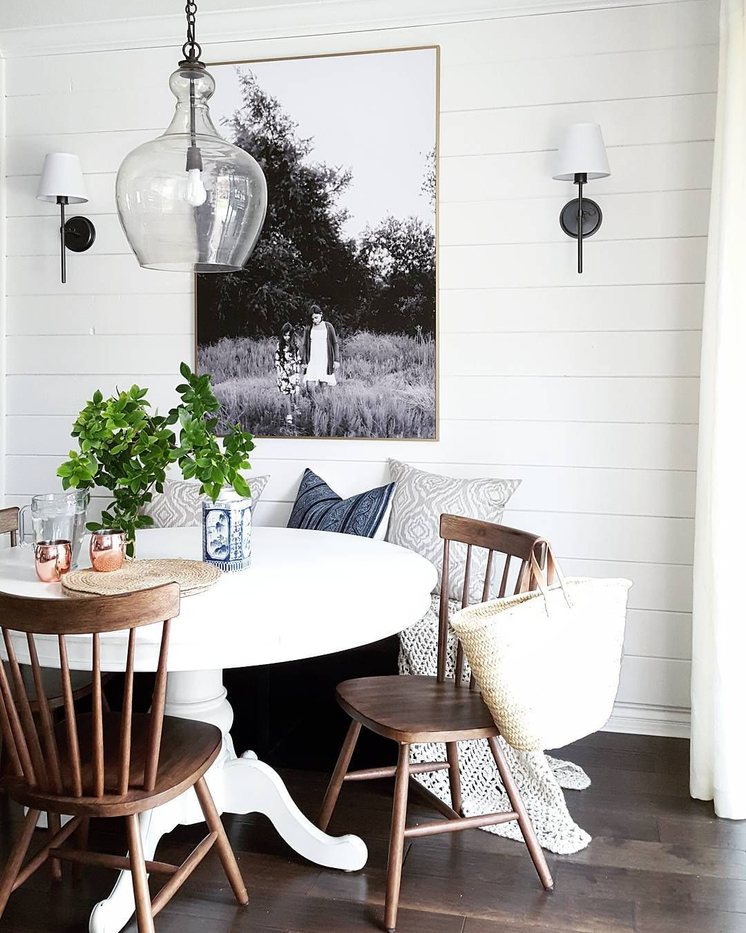 Chic drum pendant with what is shiplap and dining room set also - Room Classic Dining Room With Shiplap