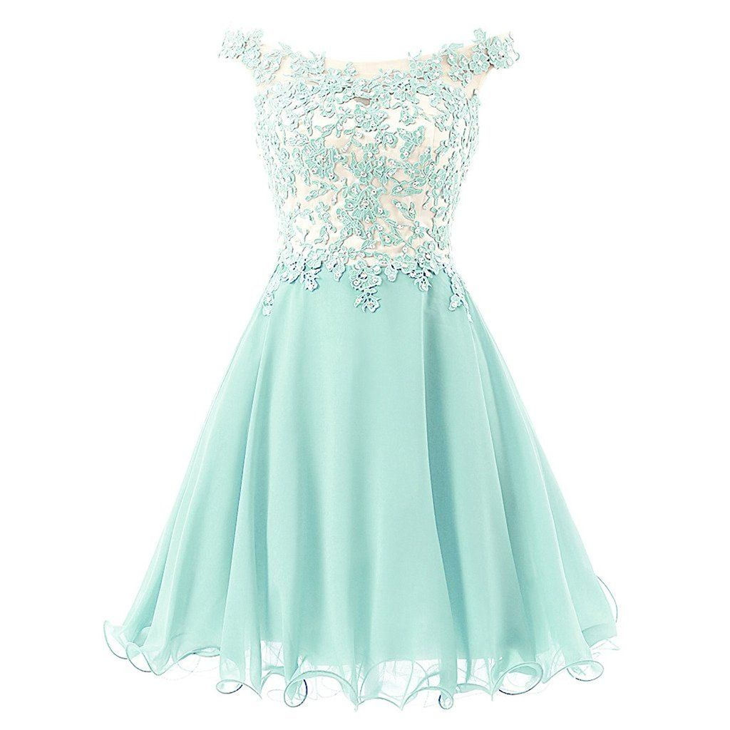 Blue Homecoming Party Dress | Homecoming, Lace chiffon and ...