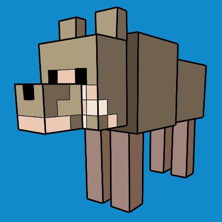 coloriage le loup dans minecraft a imprimer for tom. Black Bedroom Furniture Sets. Home Design Ideas