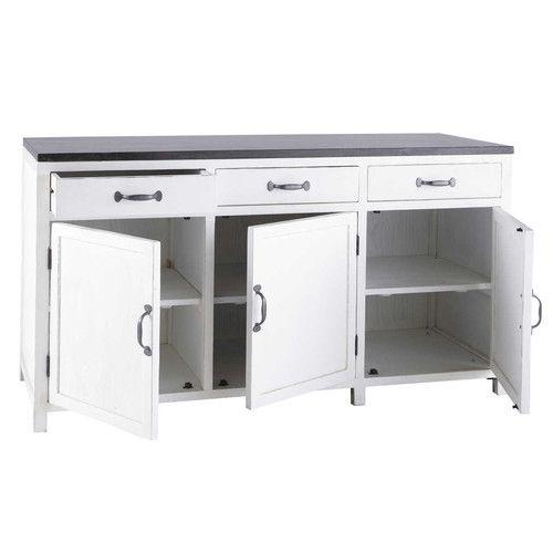 Küchenunterschrank aus Recyclingholz weiß, B 160 cm   küche ...