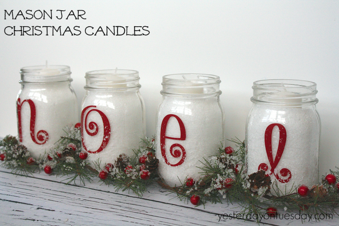 Mason Jar Decorating Ideas For Christmas Simple Mason Jar Christmas Candles From Httpyesterdayontuesday
