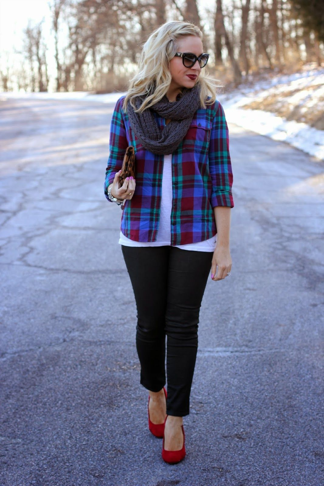 flannel shirt + white tee + coated skinnies + red heels