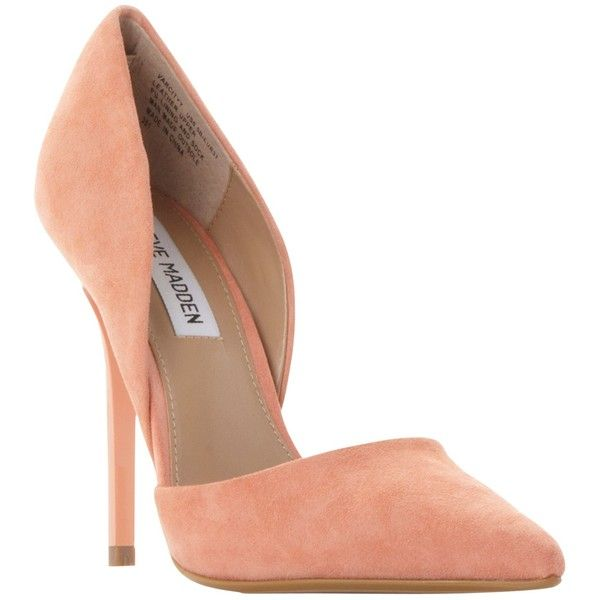 Steve Madden Varcityy Cut Out Upper Court Shoes , Orange Suede (810 SEK) ❤ liked on Polyvore featuring shoes, pumps, heels, chaussures, orange suede, orange pumps, high heel stilettos, high heel shoes, suede shoes and suede pumps