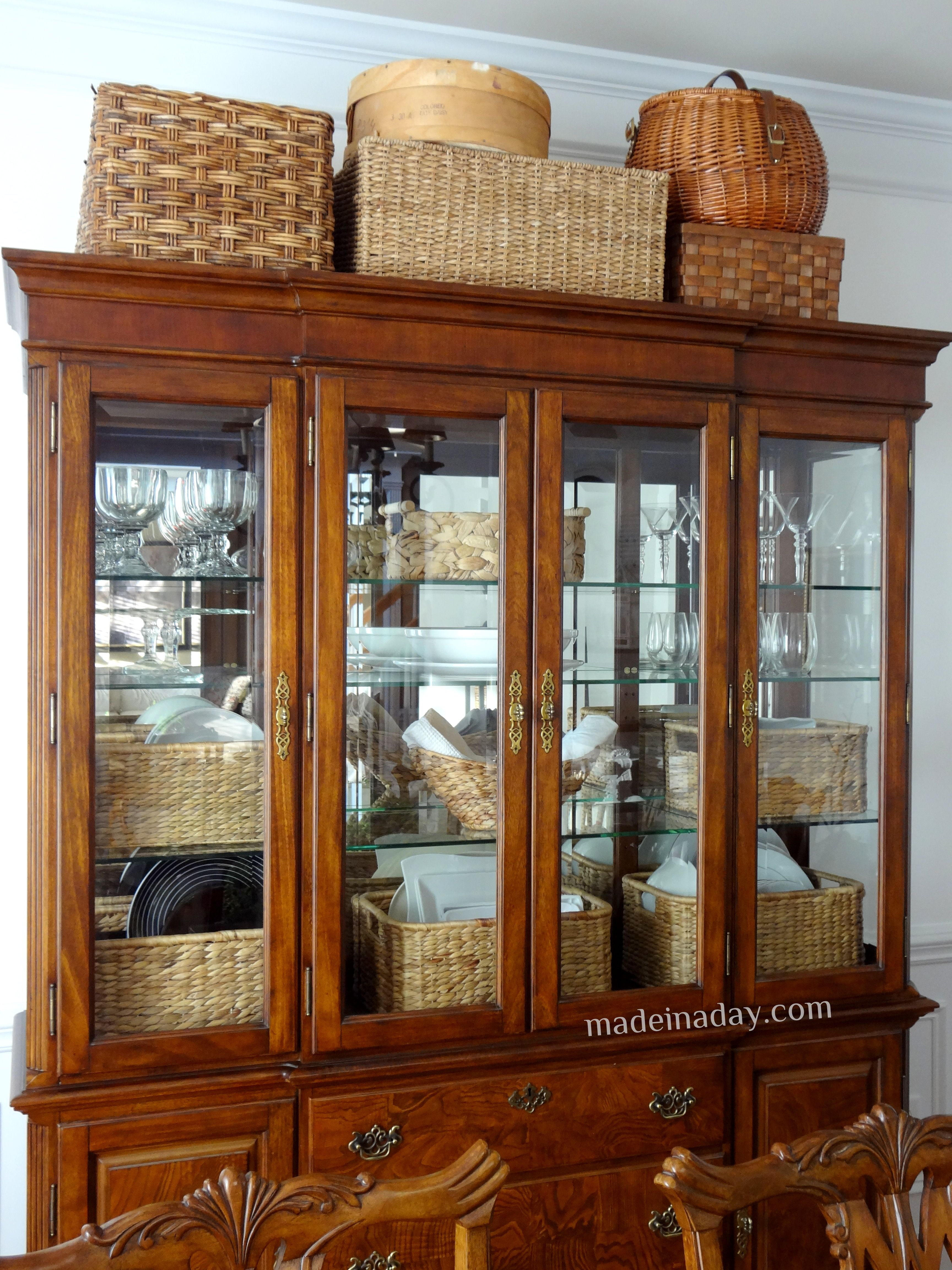 Wonderful Baskets On Top Of Hutch China Cabinet