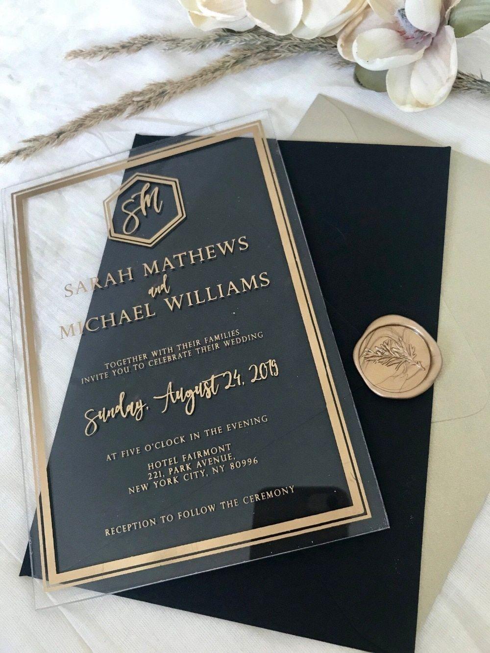 Benutzerdefinierte moderne Acryl Einladungen Hochzeiten klar Plexi schwarz Weißgold Luxus Art Deco geometrische Kalligraphie Umschlag für den Gast   – Wedding Decorations