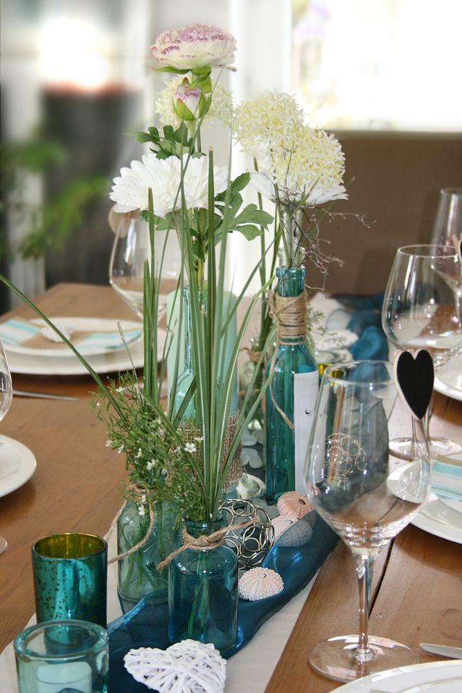 tischdekoration t rkis mint wedding decoration tischdeko. Black Bedroom Furniture Sets. Home Design Ideas