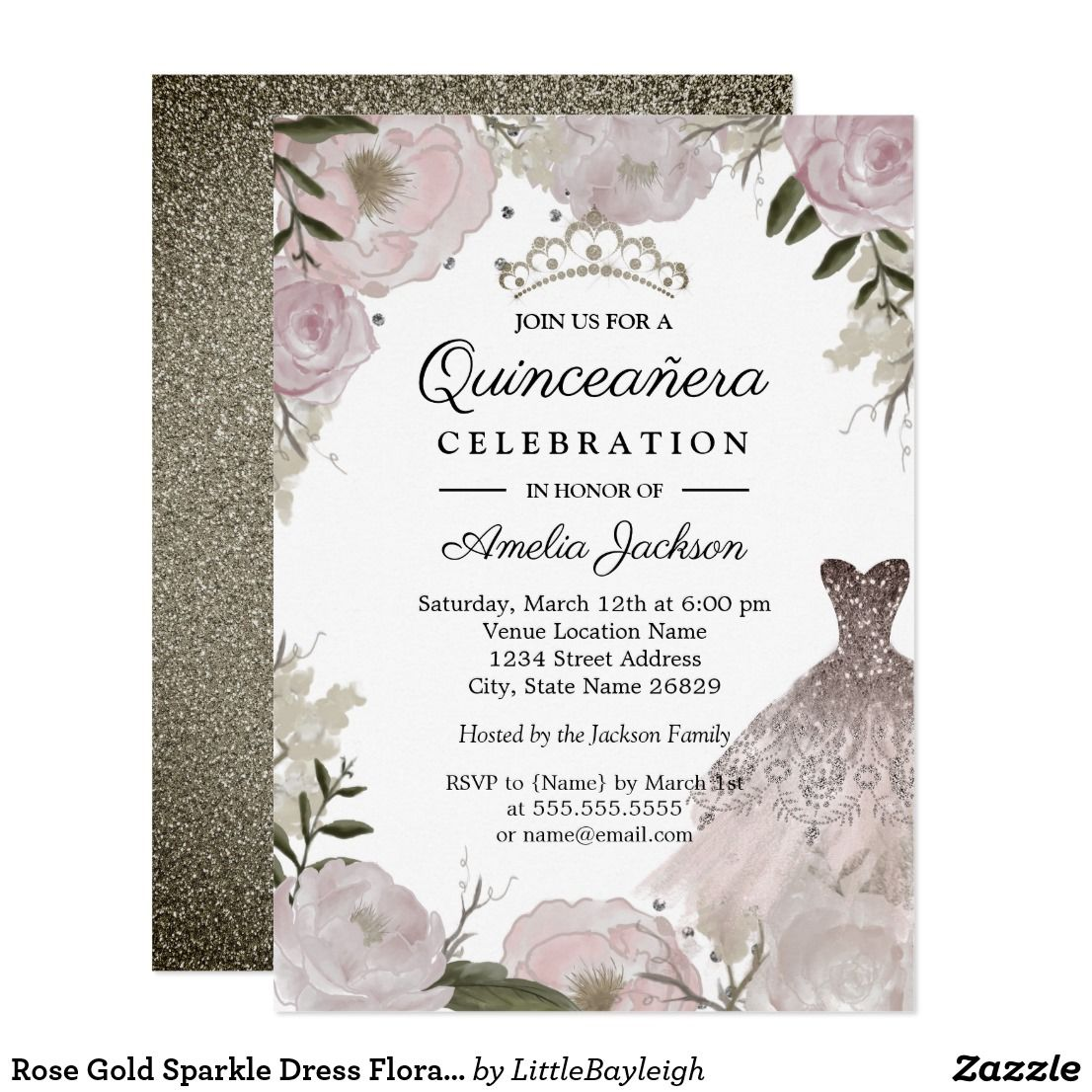 Rose Gold Sparkle Dress Floral Quinceanera Invitation In 2019