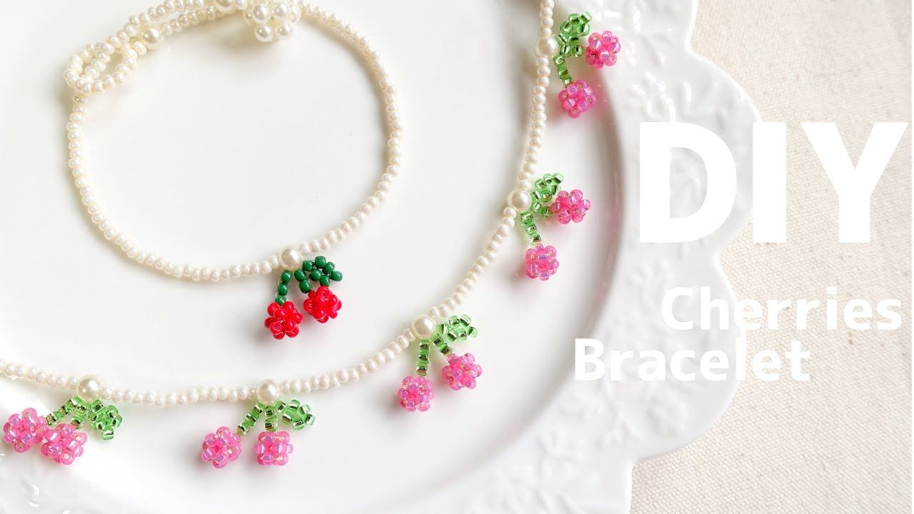 Photo of DIY🍒How to make Beaded Cherries Charm Bracelet| tutorial |ビーズでキュートなさくらんぼブレスレットの作り方♪ 大人|子供|ビーズリングにも!