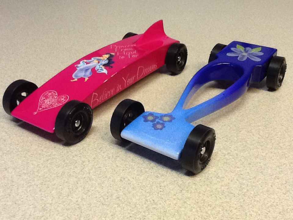 Pinewood Derby Car Design Ideas but we jazzed it up by making tiny pinewood derby cars Girls Cars Pinewood Derby Pinterest