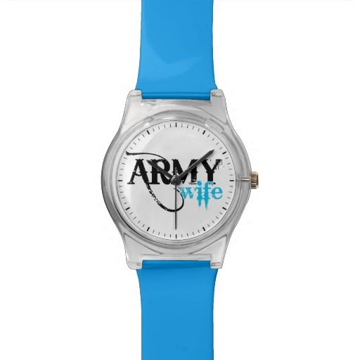 Distressed Lettering Army Wife Watch