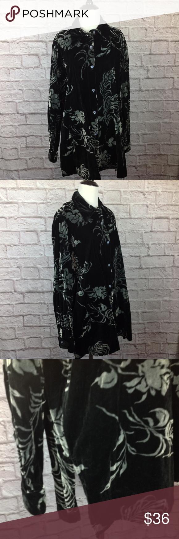 Denim co tunic top women medium black gray velvet in my posh