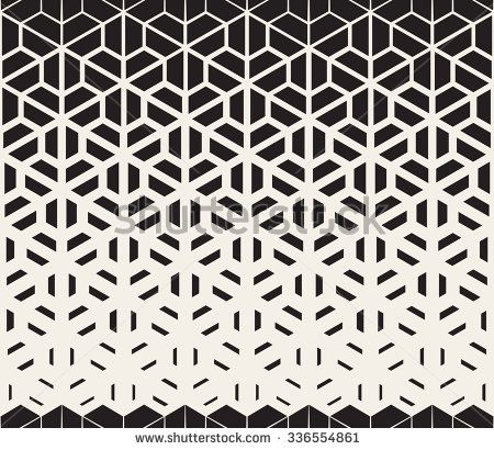 Vector Seamless Black and White Hexagon Triangle Split Lines