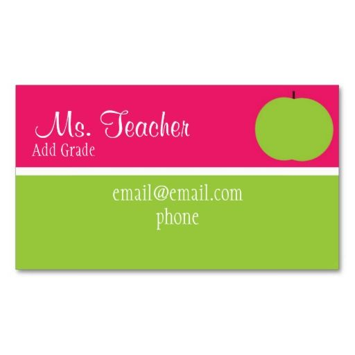 Pink and green apple teacher busness cards teacher business cards card templates flashek Choice Image