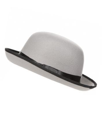 Grey Contrast Trim Bowler Hat