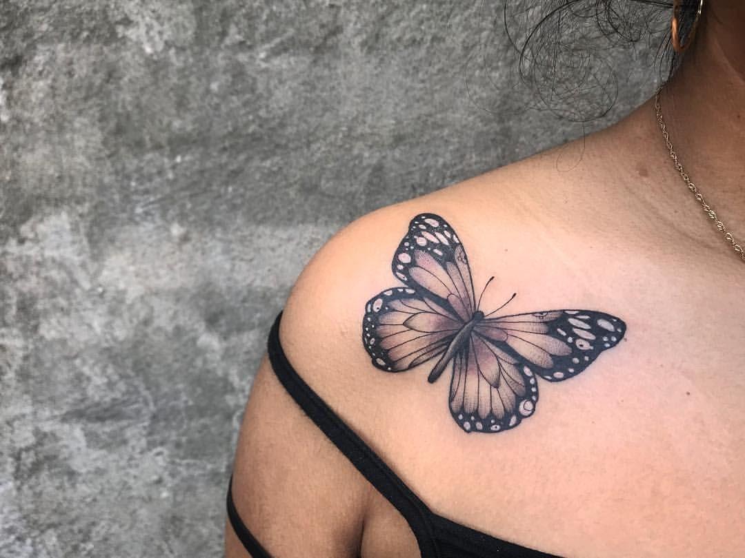 """Photo of @paultattooer auf Instagram: """"Fun butterfly walk in today #buterfly #butterflytattoo #blackandgrey #blackandgreytattoo #bugtattoo #blacktattoo #nyc #parkslope # brooklyn…"""""""