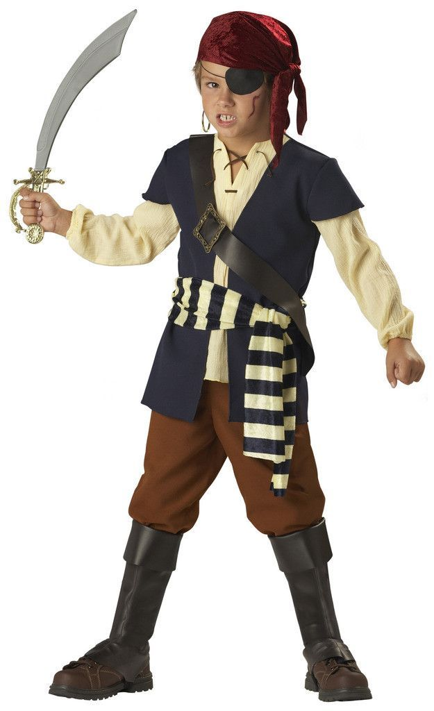 Pirate Mate Child Costume Includes: Vest/Shirt, Scarf, Chest Strap, Waist Sash, Pants, Boot Covers. Does not include patch, earring, toy sword or makeup. Weight (lbs) 1.04 Length (inches) 14 Width (in