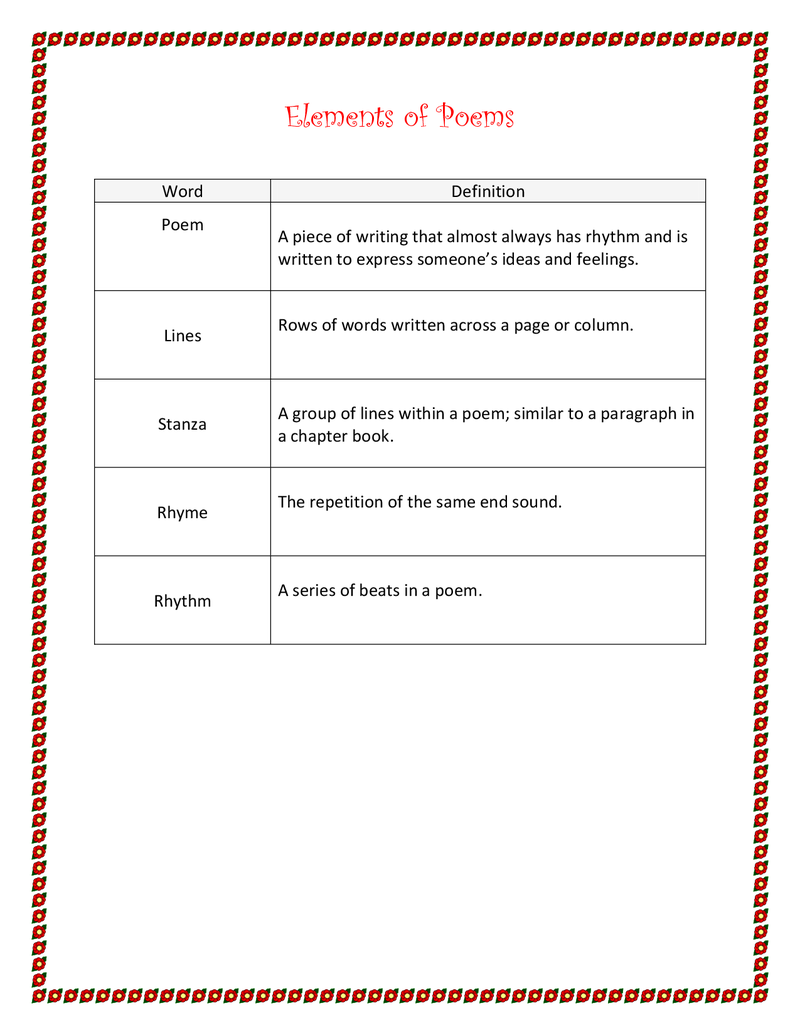 Elements Of A Poem Definitions Pdf Poetry Lessons Poetry Worksheets Third Grade Lessons [ 1035 x 800 Pixel ]
