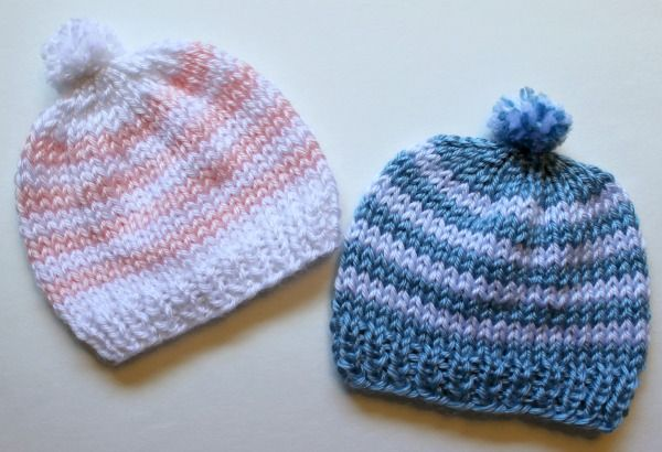 9a9673e0dfda1 Free Knitting Pattern - Quick Knit Newborn Baby Hat. Easy for beginners too!
