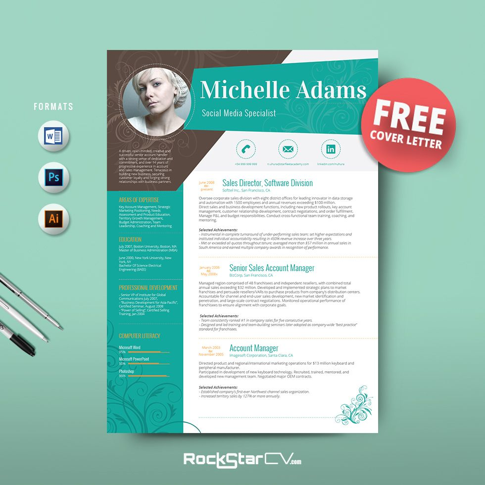 Resume Template + FREE Cover Letter By Resume Templates On Creative Market  Free Cover Letter Template Downloads