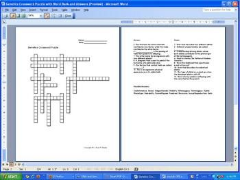 Genetics crossword puzzle 12 clues with word bank and an genetics crossword puzzle 12 clues with word bank and an malvernweather Choice Image