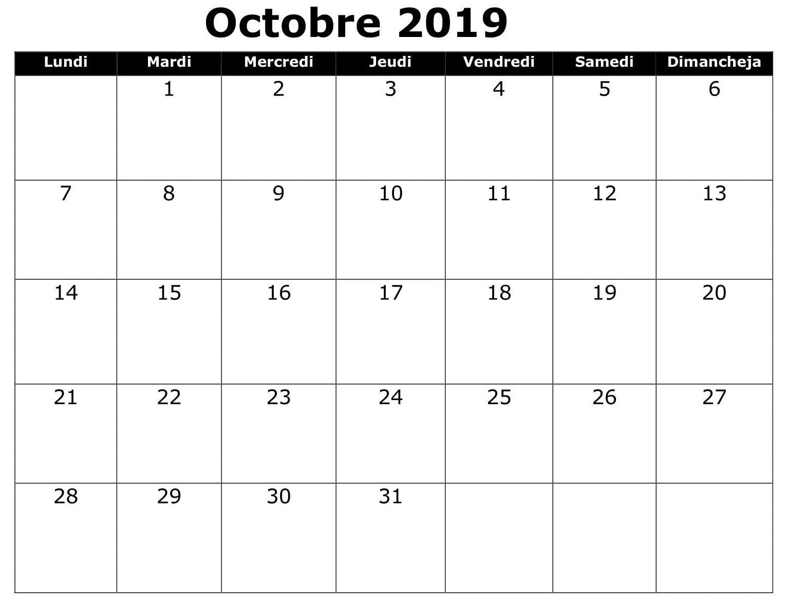 Octobre Calendrier 2019.Calendrier 2019 Editable Octobre Words