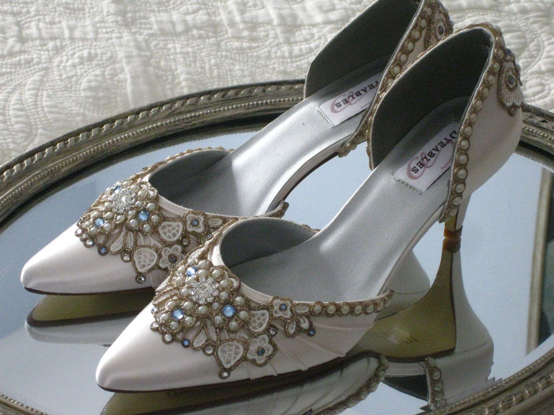 d0a625972d2 Something Blue Kitten Heel with Blue Swarovski Crystals -