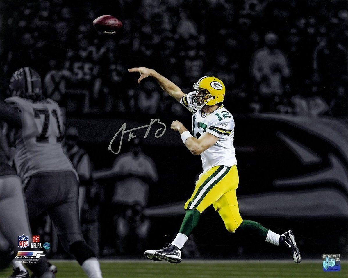 sports shoes 1dd17 80e20 Aaron Rodgers Green Bay Packers Autographed Throw on the Run ...
