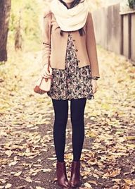 summer dress + leggings + boots + coat + scarf = fall outfit