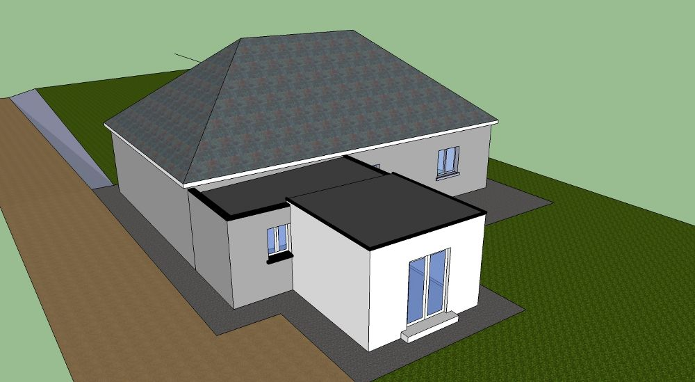 Image Result For New Roof Extension On A Bungalow Flat Roof Extension Bungalow Extensions Hip Roof