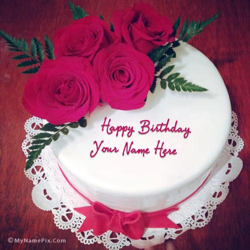 Lovely Roses Birthday Cake With Name Birthday Wishes Happy Birthday Cakes Happy Birthday Cake Photo Birthday Wishes Cake