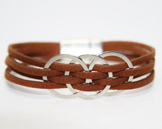 Womens Leather Bracelet Gift For Her Jewelry Multi Strand