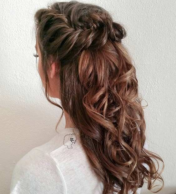 Very Into This Curly Fishtail Braid Half Updo For Mghairandmakeup Com Bridesmaids Repin In Braided Half Updo Bridesmaid Hair Medium Length Down Hairstyles