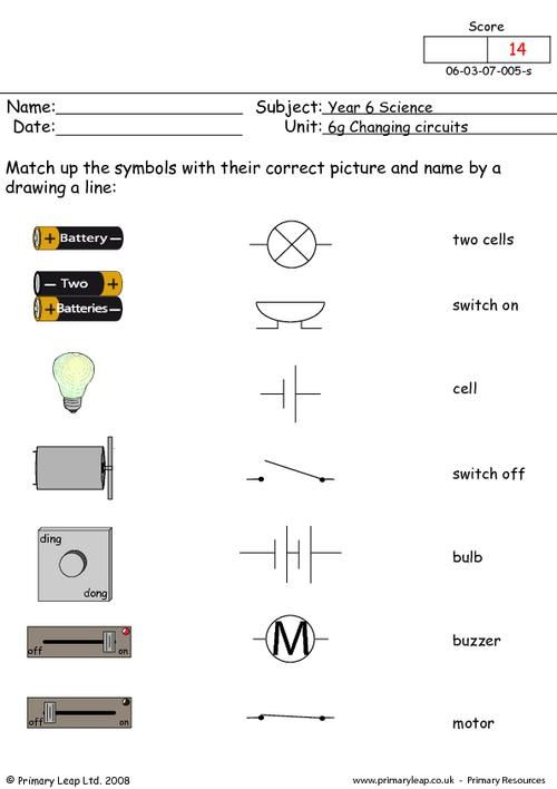 PrimaryLeapcouk Electrical Symbols 1 Worksheet