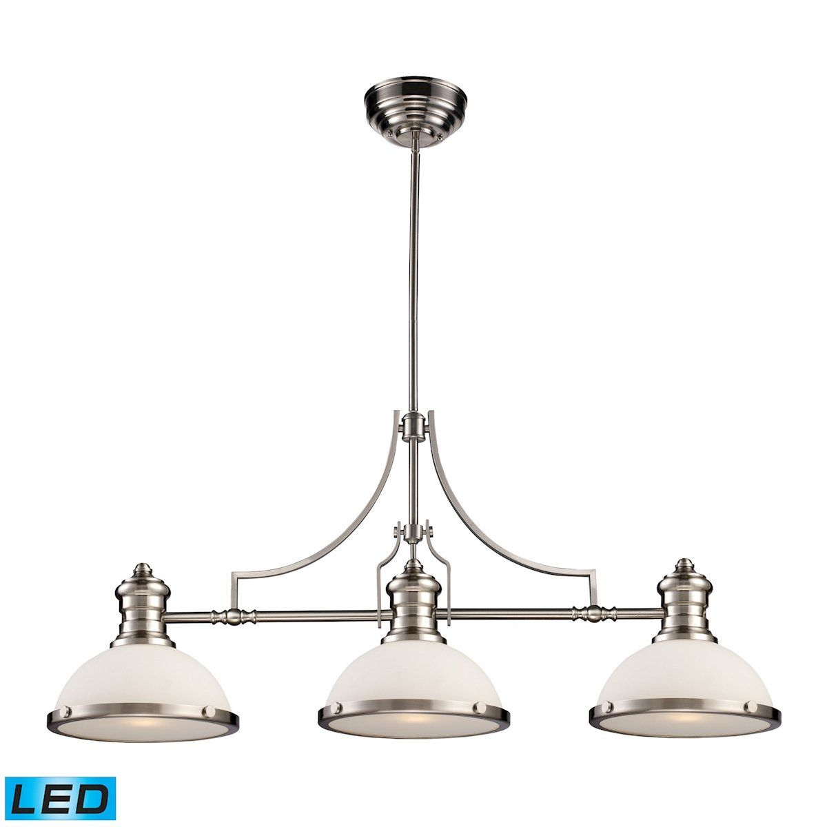 Elk lighting chadwick light led billiard in satin nickel and white