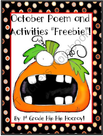 FREE October Poems and Activities from First Grade Hip Hip ...