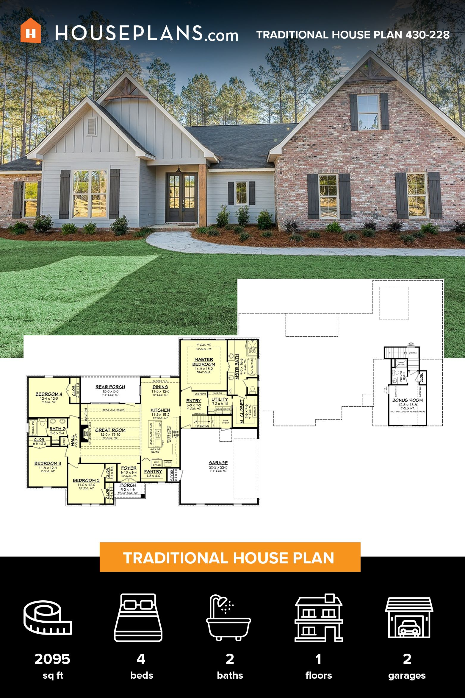 Traditional Style House Plan 4 Beds 2 Baths 2095 Sq Ft Plan 430 228 White House Plans House Blueprints House Plans Farmhouse