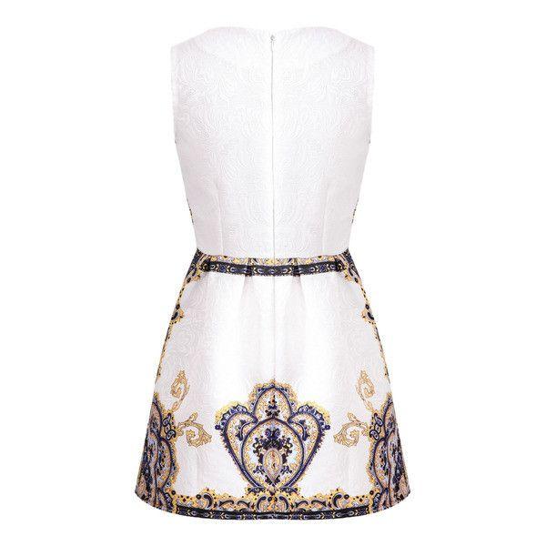 SheIn(sheinside) Blue Sleeveless Vintage Floral Jacquard Dress ($20) ❤ liked on Polyvore
