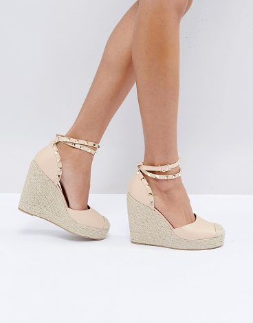 240e5abd9a3 Studded Ankle Strap Heeled Espadrilles by Truffle Collection. Heels by  Truffle