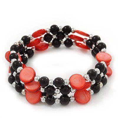 Avalaya Red Acrylic Bead Coiled Flex Bracelet - Adjustable pfnSKtWfq
