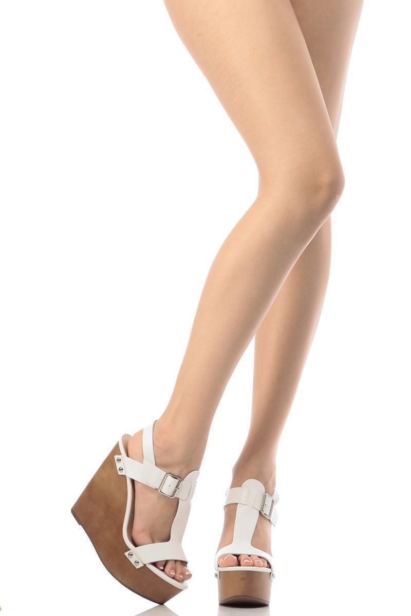 a17c6783a3c4 White Faux Leather Buckle Up Wedges   Cicihot Wedges Shoes Store Wedge Shoes