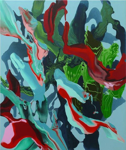 In the Woods (sml blue), 2011  Synthetic polymer paint on canvas  91.5 x 76cm Noel Skrzypczak