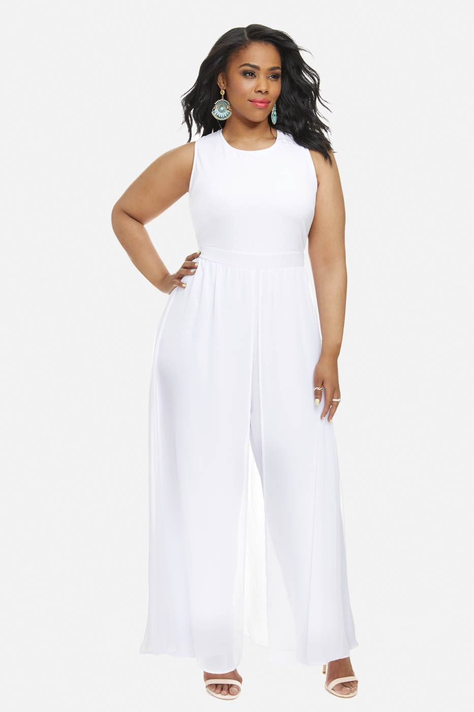 Plus Size Giuliana Jumpsuit With Chiffon Overlay | My special day ...
