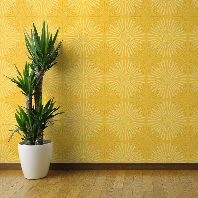 Spoonflower 1 L X 24 W Textured Peel And Stick Wallpaper Panel Wayfair In 2020 Peel And Stick Wallpaper Wallpaper Panels Yellow Accent Walls