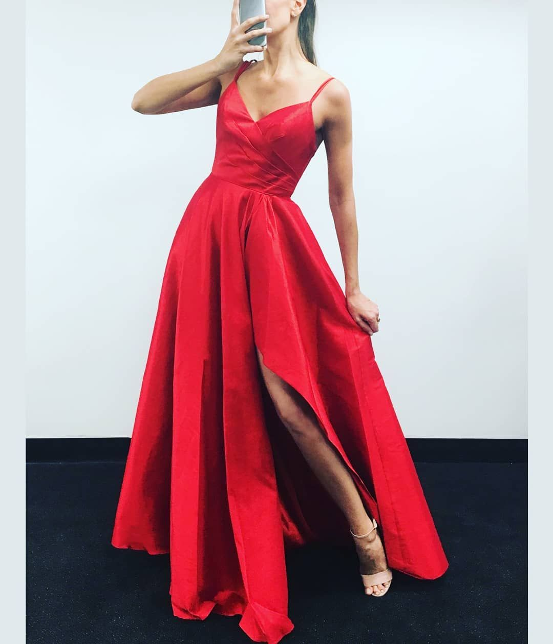 Simple Red Prom Dress with Slit | Evening & Prom Dresses | Pinterest ...